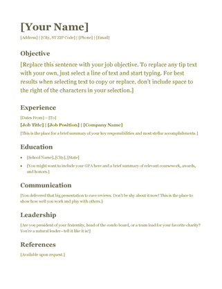 Resume (green) Word  Resume Outline Word