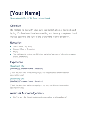 word templates resumes - Templates Of Resumes