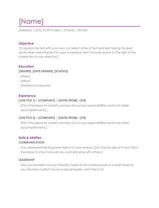 Resume (violet) Word  Education Cover Letter Template