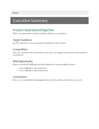Executive Summary  Project Executive Summary Template