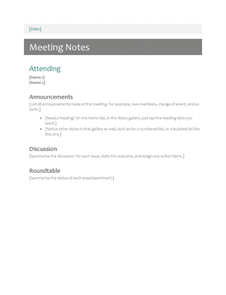 templates minutes meeting notes