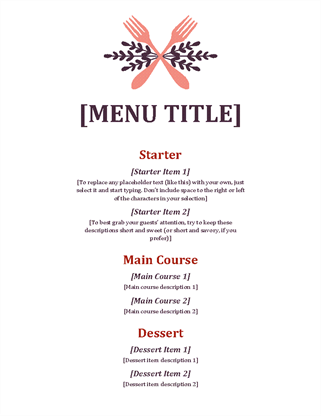 Informal Event Menu  Formal Dinner Menu Template
