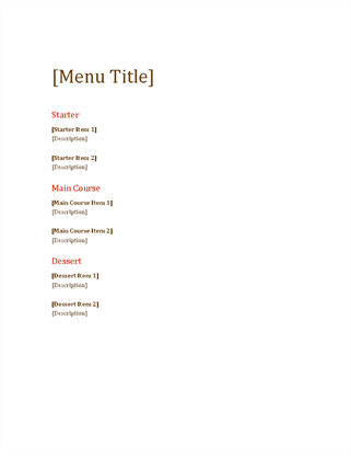 Event Menu  Microsoft Office Menu Templates