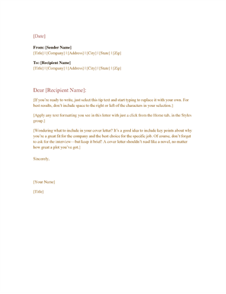 formal business letter - Resume Cover Letters Templates