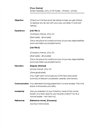 chronological resume minimalist design