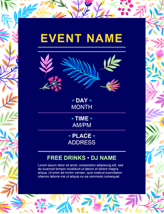 Bright floral event flyer