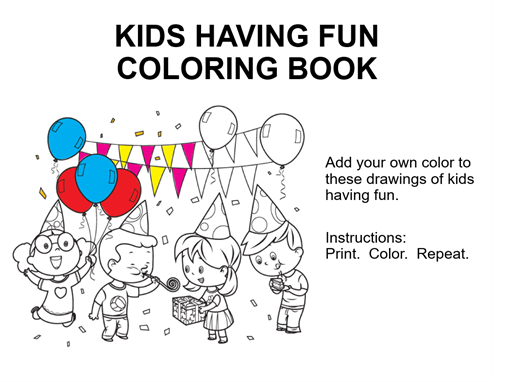 Kids having fun coloring book