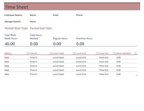 Time Sheet  Free Printable Timesheet Template
