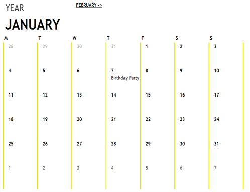 12-Month Calendar - Office Templates