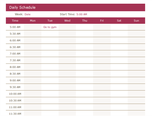 Daily Schedule Excel  Meeting Scheduler Template