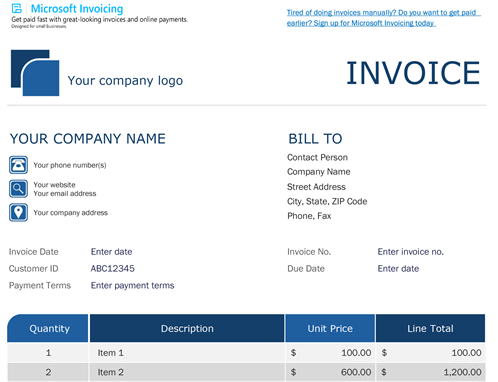 Standard invoice with Microsoft Invoicing