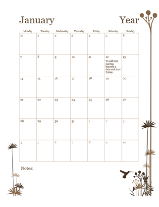 12 Month Calendar Mon Sun Office Templates