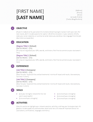 Simple resume office templates student resume modern design altavistaventures Image collections
