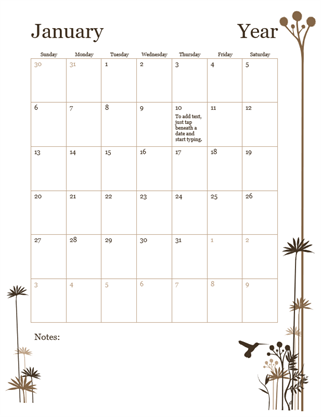 Monthly Calendar Word Template Sarahepps