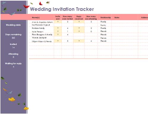 Floral wedding invitation tracker