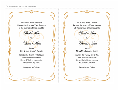 Wedding invitations (Heart Scroll design A7 size 2 per page)