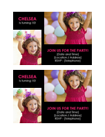 Birthday party invitation postcard