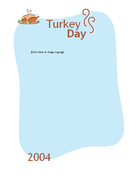 Thanksgiving dinner menu (casual)