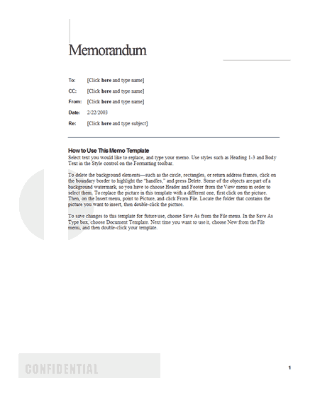 Memos Office – Sample of Interoffice Memo