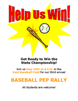 Sports pep rally flyer for school