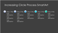 Increasing Circle Process Diagram SmartArt Slide (gray and blue on black, widescreen)