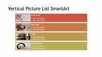 Vertical Picture List Diagram SmartArt Slide (multicolor on white, widescreen)