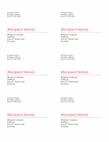 Shipping labels (Red design, 6 per page, works with Avery 8254)