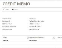 Credit/debit memo