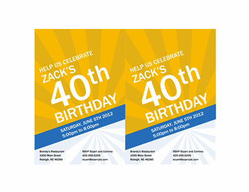 Birthday invitation (blue ray design on gold)