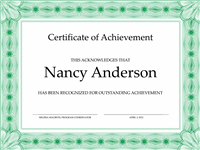 Certificate of achievement (green)