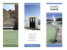 Tri-fold travel brochure (blue, green design)