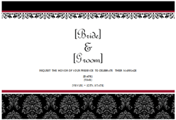 Wedding invitations (Black and White wedding design, 2 per page, works with Avery 5889)