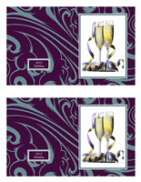 Stylish photo cards (blue curls on purple, 2 per page)