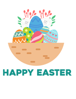 Easter card (with eggs, quarter-fold)