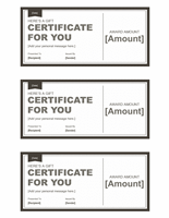 Gift certificates (black & white, 3 per page)