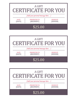 Gift certificates (3 per page)