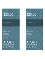 Gift certificates (blue swirl, 2 per page)