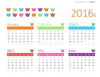 Any year calendar (1 page, Rainbow Bears design)