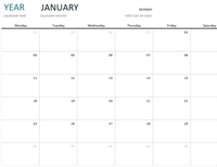 Any year one-month calendar