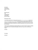 Letter requesting genealogy records from funeral home