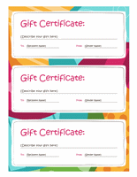 Gift certificates (Bright design, 3 per page)