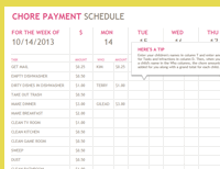 Chore payment schedule