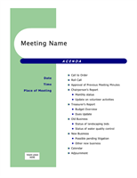 Agendas Office – Agenda for a Meeting Template