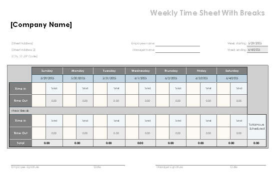Weekly time sheet with breaks