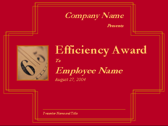 Employee efficiency award