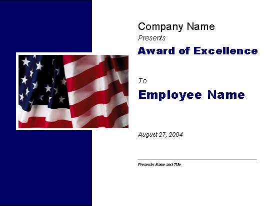 Excellence award (with U.S. flag)