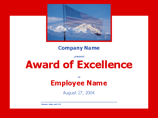 Employee excellence award (with mountains)
