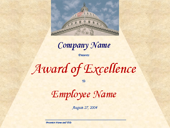 Excellence award (with Capitol dome)