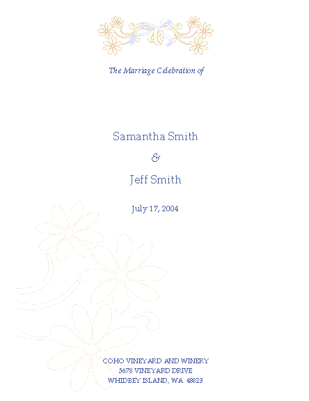 Wedding ceremony program (half-fold)