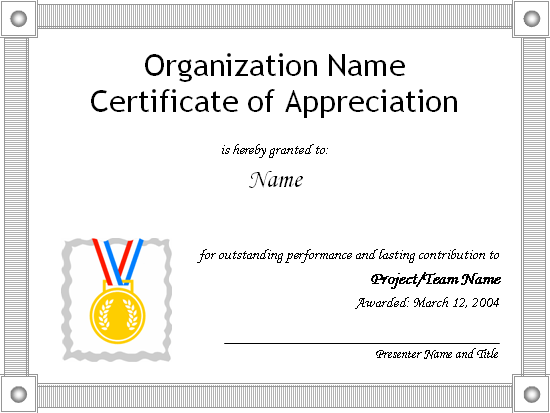Certificates Office – Word Certificate of Appreciation Template
